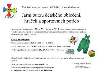 Mateřské a tvořivé centrum WRTulka o.s. zve všechny na