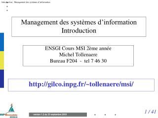 Management des systèmes d'information Introduction