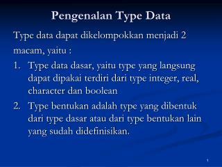 Pengenalan Type Data