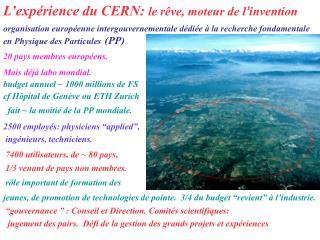 L'expérience du CERN:  le r êve, moteur de l ' invention