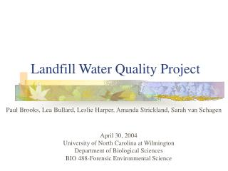 Landfill Water Quality Project