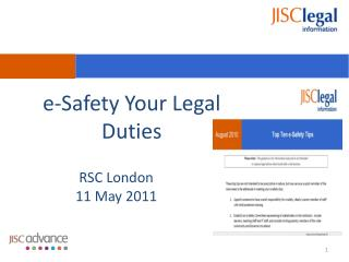 e-Safety Your Legal Duties
