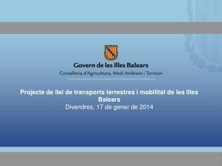 Projecte de llei de transports terrestres i mobilitat de les Illes Balears