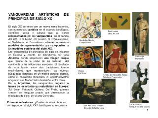 VANGUARDIAS ARTÍSTICAS DE PRINCIPIOS DE SIGLO XX