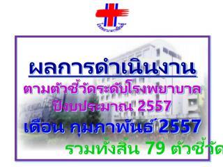 ผลการดำเนินงาน ตามตัวชี้วัดระดับโรงพยาบาล ปีงบประมาณ 2557 เดือน กุมภาพันธ์ 2557