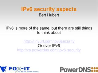 IPv6 security aspects