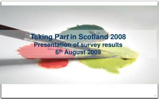 Taking P art  in Scotland 2008 Presentation of survey results 6 th  August 2009