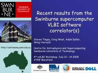 Recent results from the Swinburne supercomputer VLBI software correlator(s)