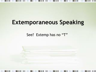 Extemporaneous Speaking