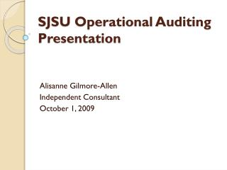 SJSU Operational Auditing Presentation