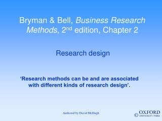 Bryman & Bell,  Business Research Methods , 2 nd  edition, Chapter 2