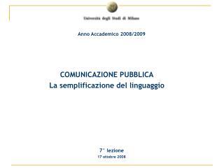 COMUNICAZIONE PUBBLICA La semplificazione del linguaggio