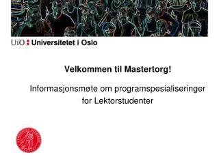 Velkommen til Mastertorg!