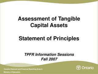 Assessment of Tangible Capital Assets Statement of Principles