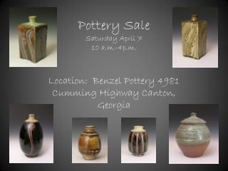 Pottery Sale Saturday April 7  10 a.m.-4p.m.