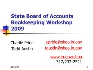 State Board of Accounts Bookkeeping Workshop 2009