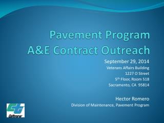 Pavement Program A&E Contract Outreach