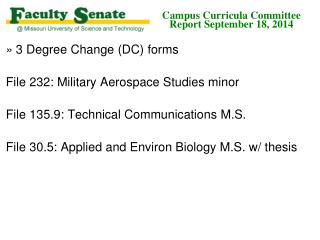 Campus Curricula Committee  Report  September 18,  2014