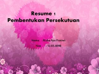Resume 1 Pembentukan  Persekutuan