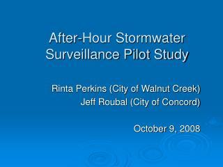 After-Hour Stormwater Surveillance Pilot Study