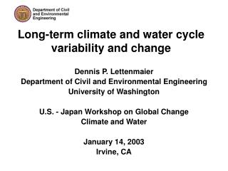 Long-term climate and water cycle variability and change
