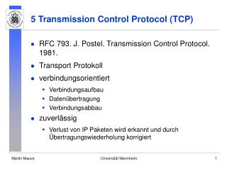 5 Transmission Control Protocol (TCP)