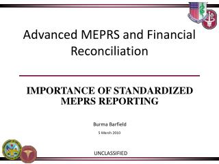 Advanced MEPRS and Financial Reconciliation