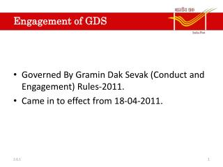Engagement of GDS