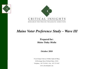 Maine Voter Preference Study – Wave III