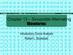 Chapter 13   Sinusoidal Alternating Waveforms