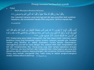 Prinsip investasi berdasarkan syariah