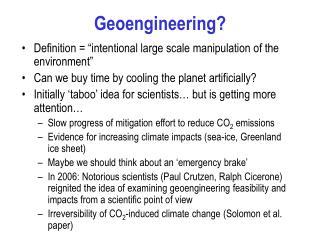 Geoengineering?