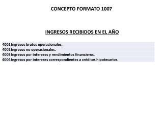 INGRESOS RECIBIDOS EN EL AÑO