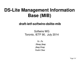 DS-Lite Management Information Base (MIB) draft-ietf-softwire-dslite-mib