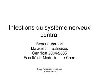 Infections du syst me nerveux central
