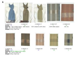 Material  70% Baby Alpaca - 30% Silk Size  180 x 36 cm. Weight  100 gr.