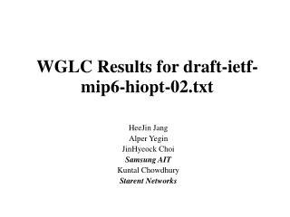 WGLC Results for draft-ietf-mip6-hiopt-02.txt