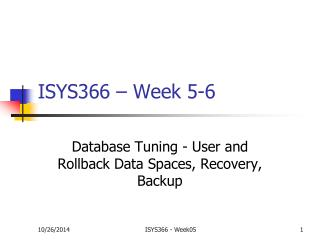 ISYS366 – Week 5-6