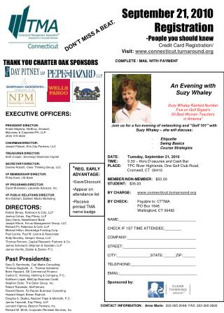"Join us for a fun evening of networking and ""Golf 101"" with  Suzy Whaley – she will discuss:"