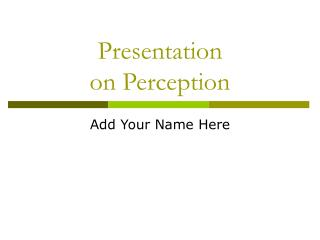 Presentation  on Perception