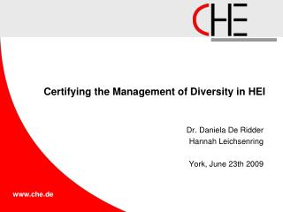 Certifying the Management of Diversity in HEI