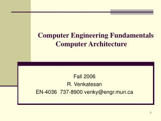 Computer Engineering Fundamentals Computer Architecture
