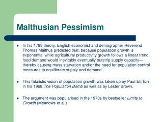 Malthusian Pessimism