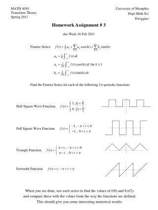 MATH 4010 Transform Theory Spring 2011