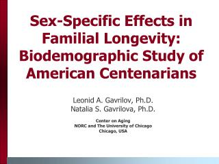 Sex-Specific Effects in Familial Longevity: Biodemographic Study of American Centenarians