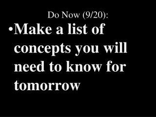 Do Now (9/20):