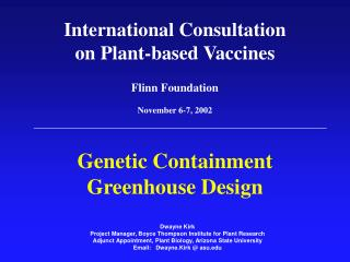 Genetic Containment  Greenhouse Design