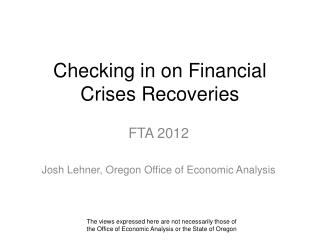 Checking in on Financial Crises Recoveries