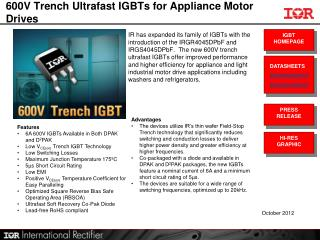 600V Trench Ultrafast IGBTs for Appliance Motor Drives