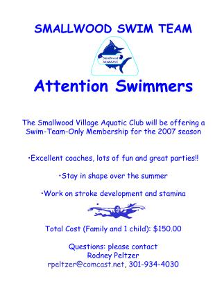SMALLWOOD SWIM TEAM Attention Swimmers